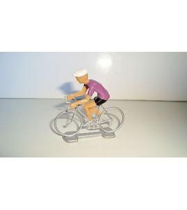 ANCIEN COUREUR CYCLISTE ANNEE 70 80 - MAILLOT VIOLET TOUR DE FRANCE (6x6cm)