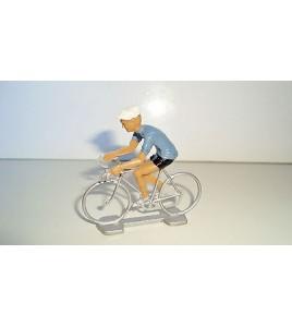 ANCIEN COUREUR CYCLISTE ANNEE 70 80 - MAILLOT BLEU TOUR DE FRANCE (6x6cm)