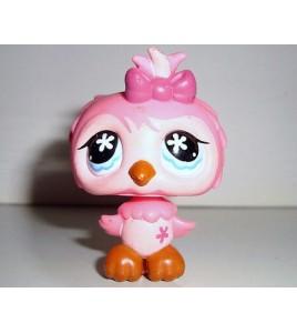 FIGURINE PETSHOP LITTLEST PET SHOP OISEAU BIRD HIBOUX CHOUETTE ROSE OWL
