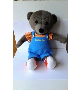 Peluche plush petit ours brun tenue salopette bleu