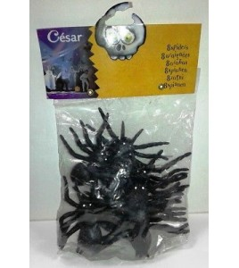 Lot de 8 araignées noires , taille 6 cm spider neuves