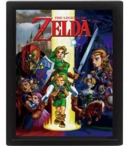 Legend of Zelda pack posters effet 3D encadré Ocarina Of Time 26 x 20 cm