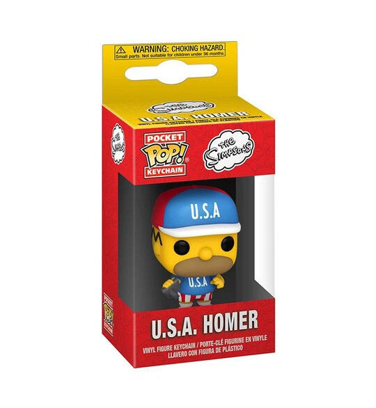 Les Simpsons porte-clés Pocket POP! USA Homer 4 cm
